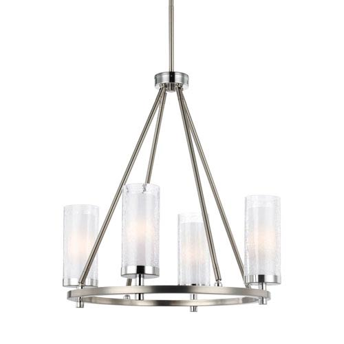 Jonah Satin Nickel and Chrome Four-Light Chandelier