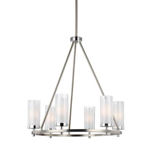 Jonah Satin Nickel and Chrome Six-Light Chandelier