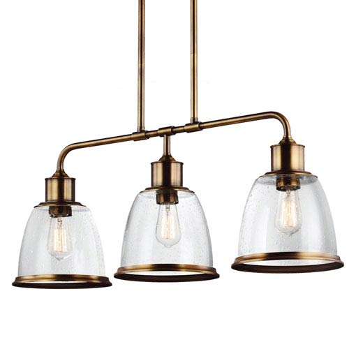 Hobson Aged Brass Three-Light 36-Inch Wide Pendant with Clear Seeded Glass