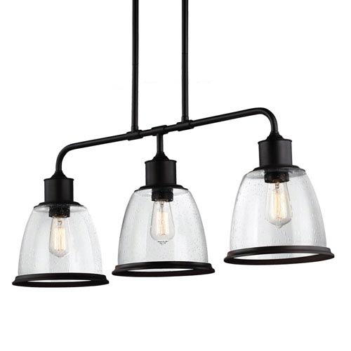Hobson Oil Rubbed Bronze Three-Light 36-Inch Wide Pendant with Clear Seeded Glass