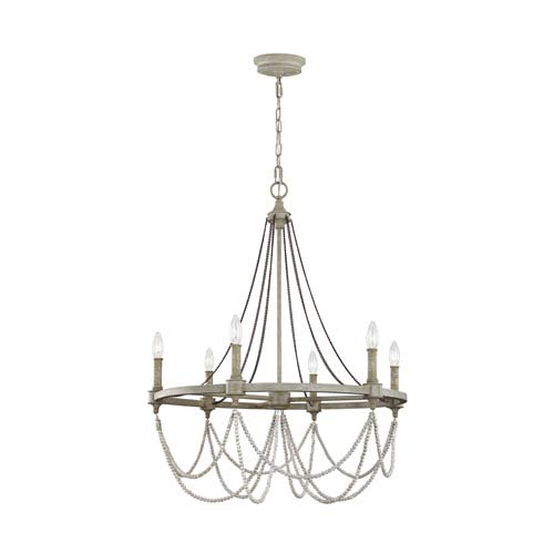 Beverly French Washed Oak And Distressed White Wood Six Light Chandelier