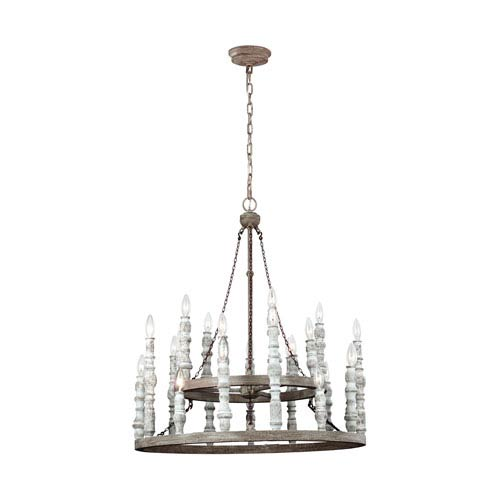 Feiss Norridge Distressed Fence Board and Distressed White Twenty-Four Light-Light Chandelier