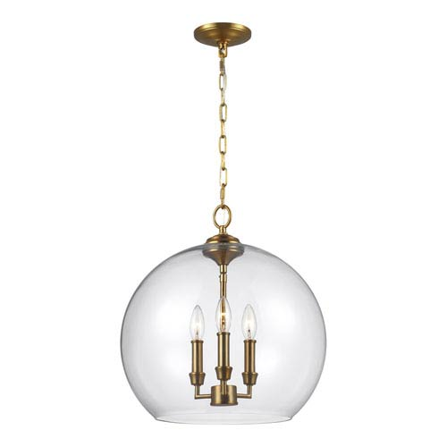 Feiss Lawler Burnished Brass 16-Inch Three-Light Pendant