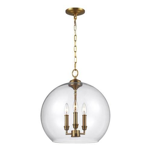Lawler Burnished Brass 16-Inch Three-Light Pendant