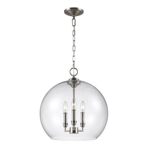 Lawler Satin Nickel 16-Inch Three-Light Pendant