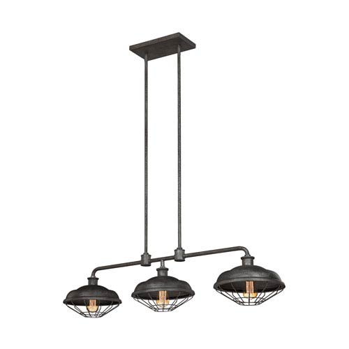Lennex Slated Grey Metal Three-Light Island Pendant