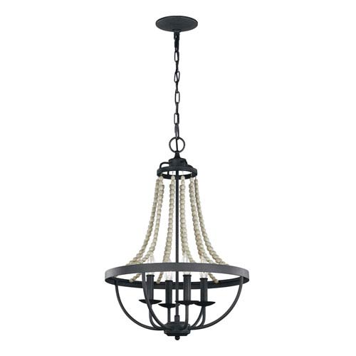 Feiss Nori Dark Weathered Zinc and Driftwood Grey 17-Inch Four-Light Chandelier