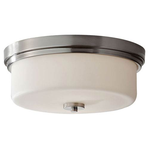 Kincaid Brushed Steel Two Light Flushmount with Opal Etched Glass
