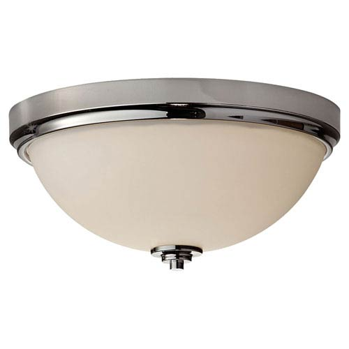 Feiss Malibu Polished Nickel Two Light Flushmount with Clear Glass