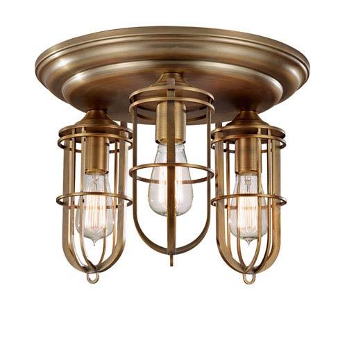 Feiss Urban Renewal Dark Antique Brass Three-Light Flush Mount with Die Cast Zinc Shade