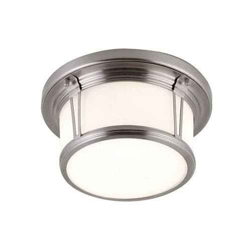 Feiss Woodward Brushed Steel Two-Light Flush Mount with White Opal Etched Glass