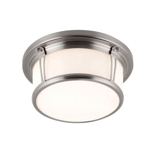 Feiss Woodward Brushed Steel Two-Light Flush Mount with Opal Etched Glass