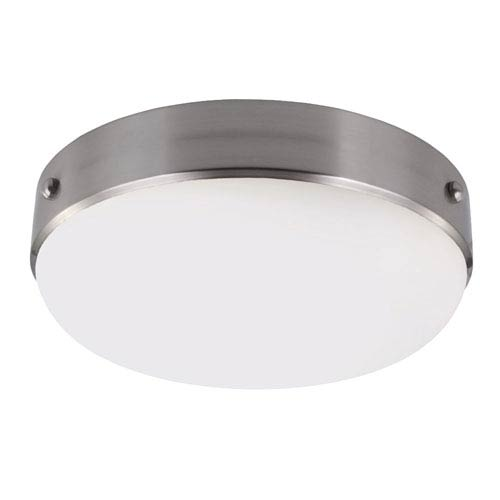 Feiss Cadence Brushed Steel Two-Light Indoor Flush Mount with White Opal Etched Glass