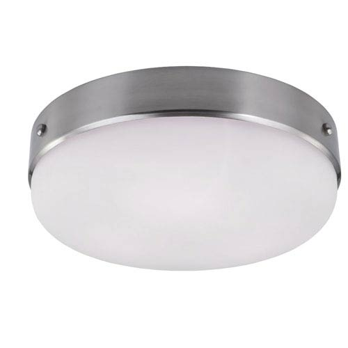 Cadence Brushed Steel Three-Light Indoor Flush Mount with White Opal Etched Glass