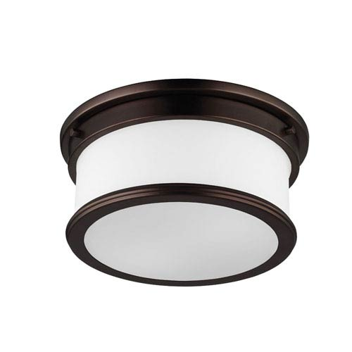 Payne Dark Plated Bronze Two-Light Flush Mount with White Opal Etched Glass