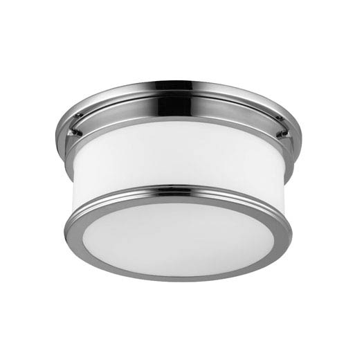 Payne Polished Nickel Two-Light Flush Mount with White Opal Etched Glass