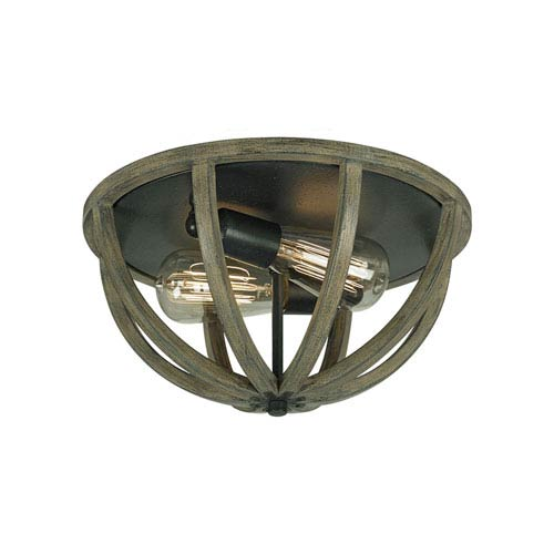 Allier Weather Oak Wood and Antique Forged Iron Two-Light Flush Mount