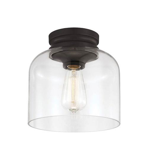 Hounslow Oil Rubbed Bronze One Light Flush Mount With Clear Gl