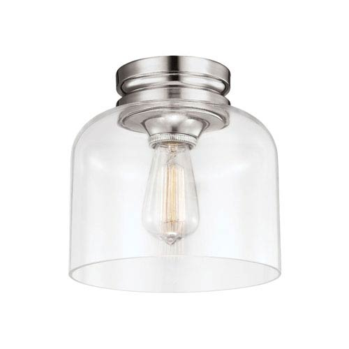 Feiss Hounslow Polished Nickel One Light Flush Mount With Clear Glass Fm404pn Bellacor