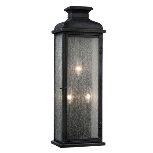 Pediment Dark Weathered Zinc Three-Light 24-Inch Outdoor Wall Sconce