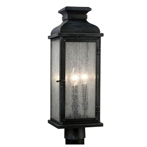 Pediment Dark Weathered Zinc Two-Light Outdoor Post Mount