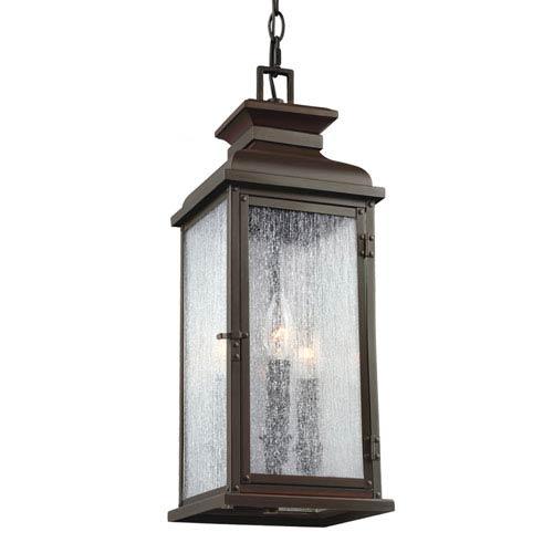 Pediment Dark Aged Copper Two-Light Outdoor Pendant