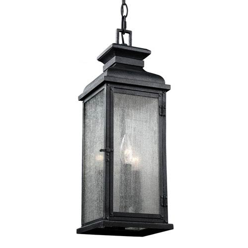 Pediment Dark Weathered Zinc Two-Light Outdoor Pendant