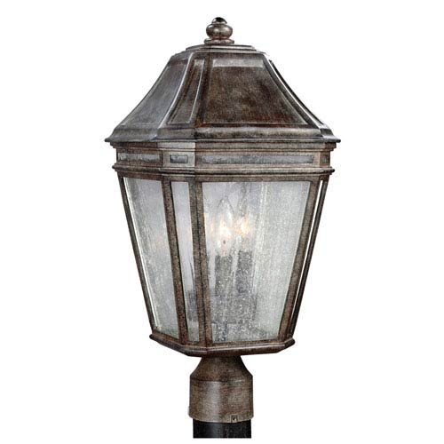 Londontowne Weathered Chestnut Three-Light Outdoor Post Mount