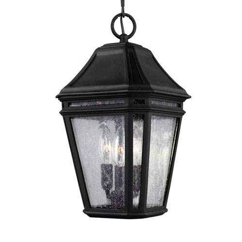 Londontowne Black Three-Light 8-Inch Wide Outdoor Pendant