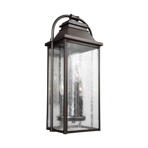 Wellsworth Antique Bronze 9-Inch Three-Light Outdoor Wall Lantern