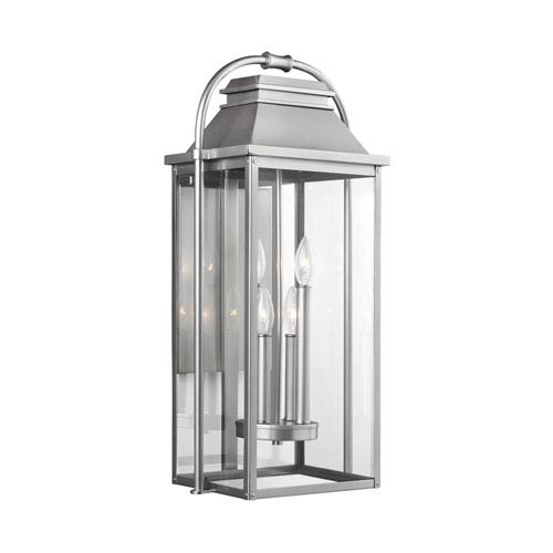 Wellsworth Painted Brushed Steel Four-Light Outdoor Wall Lantern