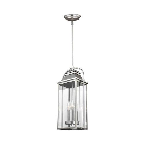Wellsworth Painted Brushed Steel Three-Light Outdoor Pendant Lantern