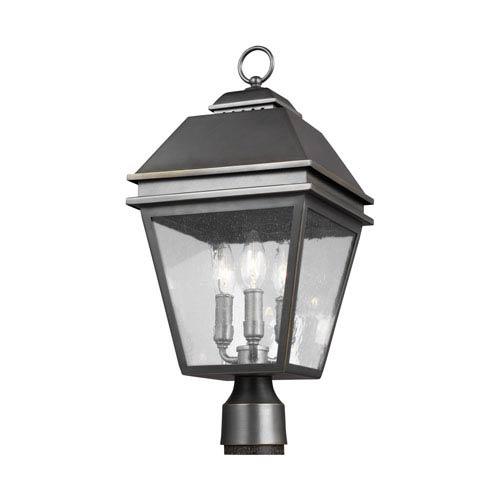Herald Antique Bronze Three-Light Outdoor Post Lantern