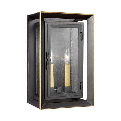 Urbandale Antique Bronze and Painted Burnished Brass 16-Inch Two-Light Outdoor Wall Lantern