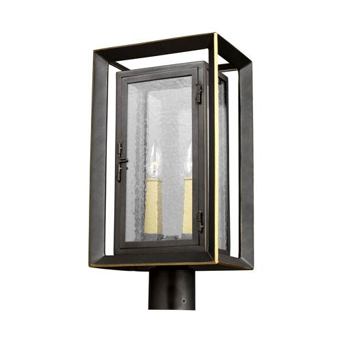 Urbandale Antique Bronze and Painted Burnished Brass Two-Light Outdoor Post Lantern
