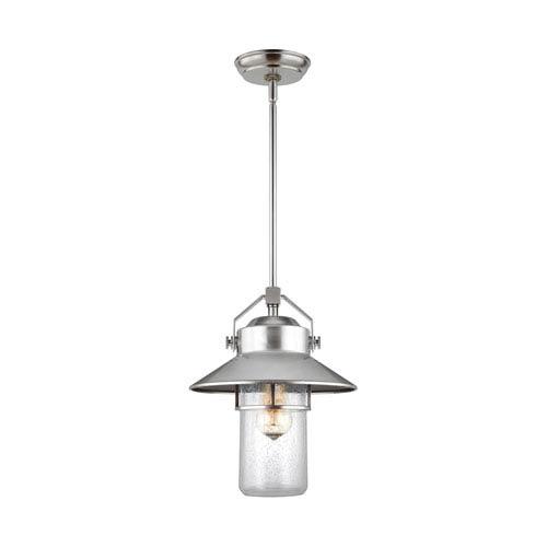 Boynton Painted Brushed Steel 13-Inch One-Light Outdoor Pendant Lantern
