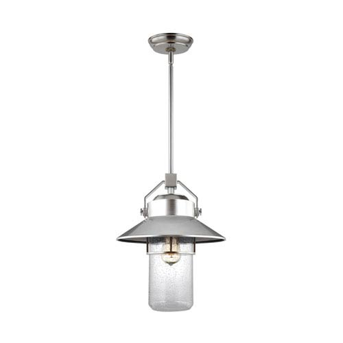 Boynton Painted Brushed Steel 16-Inch One-Light Outdoor Pendant Lantern