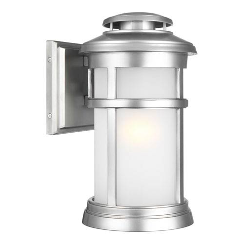 Newport Painted Brushed Steel 8-Inch One-Light Outdoor Wall Lantern