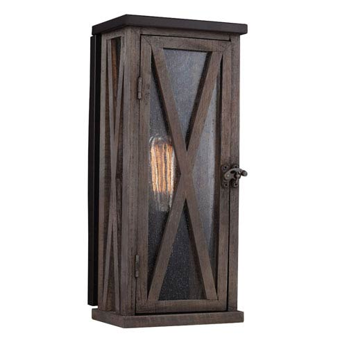 Feiss Lumiere Dark Weathered Oak and Oil Rubbed Bronze One-Light Outdoor Wall Sconce
