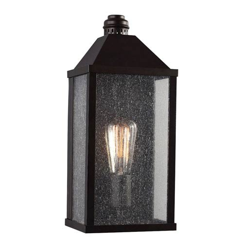 Feiss Lumiere Oil Rubbed Bronze One-Light Outdoor Wall Sconce with Clear Seeded Glass Panel