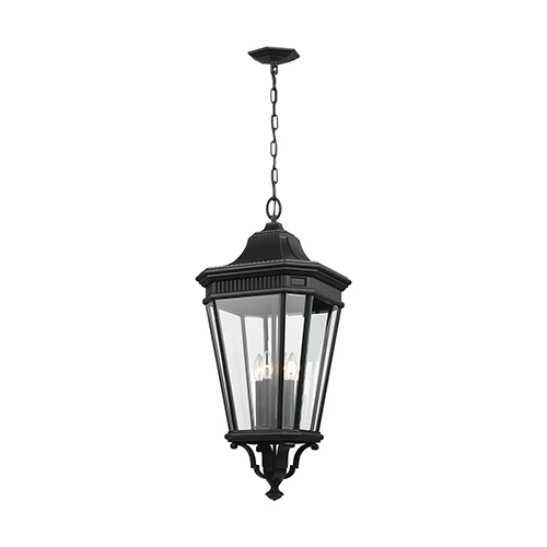 Cotswold Lane Black 31-Inch Four-Light Hanging Lantern with Clear Glass