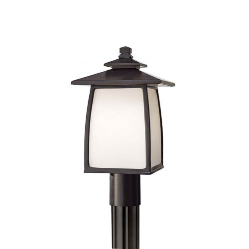 Wright House Oil Rubbed Bronze One-Light Integrated LED Outdoor Post Mount