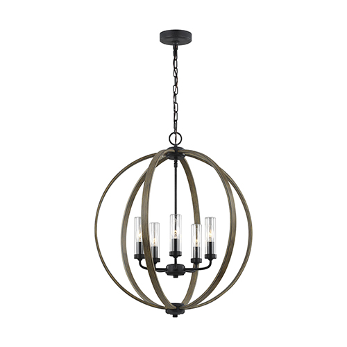 Allier Weathered Oak Wood  and  Antique Forged Iron Five-Light Chandelier