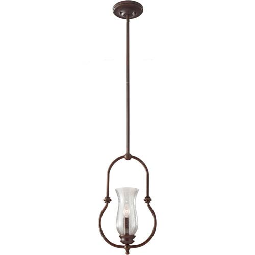 Feiss Pickering Lane Heritage Bronze One Light Mini Pendant with Clear SeededGlass