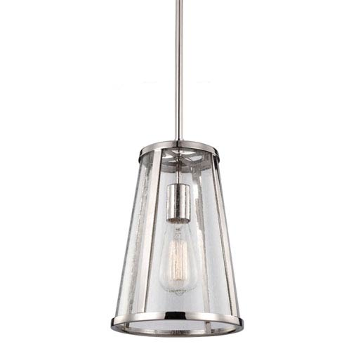 Harrow Polished Nickel One-Light Mini Pendant with Clear Seedy Glass Panel