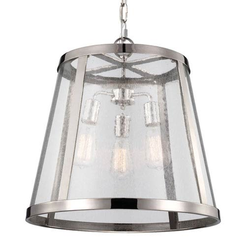 Harrow Polished Nickel Three-Light Pendant with Clear Seedy Glass Panel
