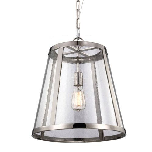 Harrow Polished Nickel One-Light Pendant with Clear Seedy Glass Panel