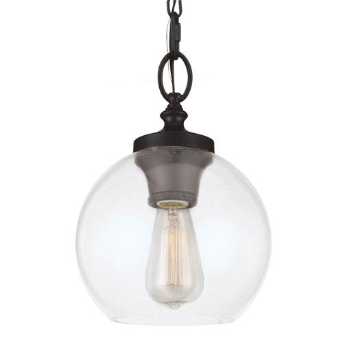 Feiss Tabby Oil Rubbed Bronze One-Light Mini Pendant with Clear Glass