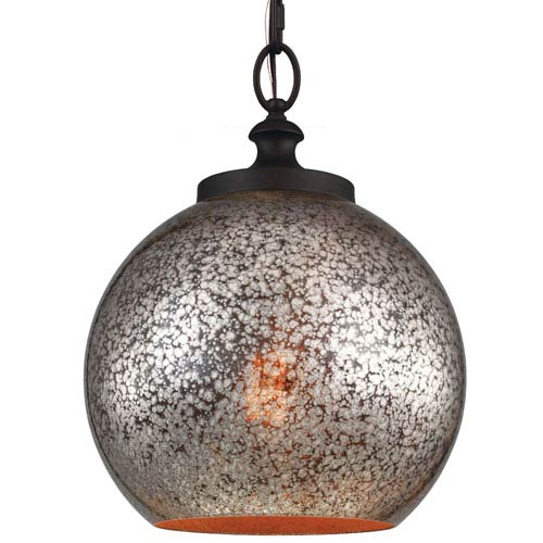 Feiss Tabby Oil Rubbed Bronze One-Light Pendant with Brown Mercury Plating Glass