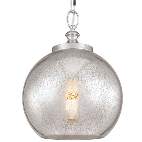 Tabby Polished Nickel One-Light Pendant with Silver Mercury Plating Glass